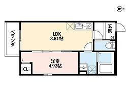 JR阪和線 堺市駅 徒歩9分の賃貸アパート 1階1LDKの間取り