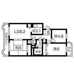 ベルヴェデーレII3階Fの間取り画像