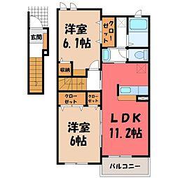 栃木県栃木市新井町の賃貸アパートの間取り