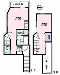 西武新宿線 上井草駅 徒歩3分の賃貸アパート 2階1LDKの間取り