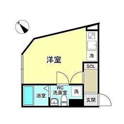 西武新宿線 沼袋駅 徒歩8分の賃貸マンション 2階ワンルームの間取り