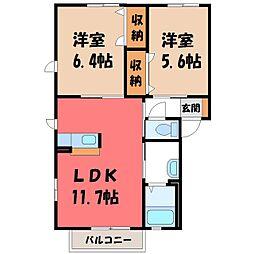 栃木県宇都宮市針ヶ谷町の賃貸アパートの間取り