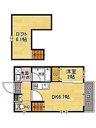 福岡県福岡市東区水谷1丁目の賃貸アパートの間取り