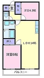 大阪府松原市一津屋2の賃貸マンションの間取り