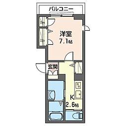 仮)板橋区清水町シャーメゾン 2階1Kの間取り