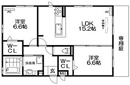 仮称)D-room伊加賀西町 1階2LDKの間取り