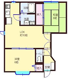 愛知県豊田市朝日町2の賃貸アパートの間取り