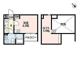 兵庫県西宮市今津大東町の賃貸アパートの間取り