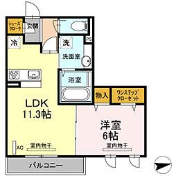 仮)D−room宿河原[202号室]の間取り