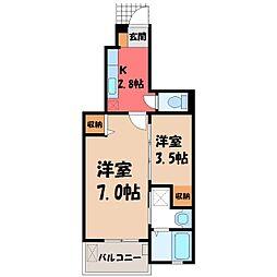 栃木県宇都宮市上御田町の賃貸アパートの間取り