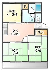 愛知県豊川市一宮町旭の賃貸アパートの間取り