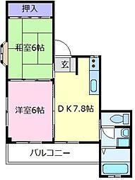 大阪府松原市岡3丁目の賃貸マンションの間取り