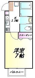 TY上福岡 2階1Kの間取り