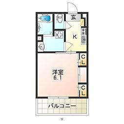 近鉄南大阪線 矢田駅 徒歩8分の賃貸マンション 1階1Kの間取り