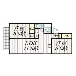 フラワーガーデンアキヤマ[101号室]の間取り