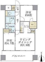 エミリブ東長崎 6階2LDKの間取り