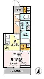 JR総武線 西千葉駅 徒歩13分の賃貸アパート 3階1Kの間取り