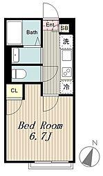 京王相模原線 稲城駅 徒歩10分の賃貸アパート 1階1Kの間取り