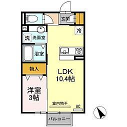 Solis B 2階1LDKの間取り
