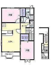 JR御殿場線 足柄駅 徒歩6分の賃貸アパート 2階2LDKの間取り