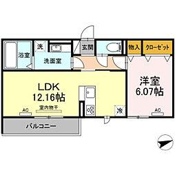 愛知環状鉄道 北岡崎駅 徒歩5分の賃貸アパート 3階1LDKの間取り