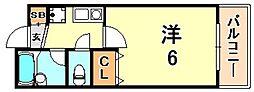 エクセレント坂田 3階1Kの間取り