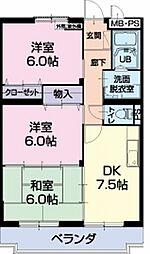長野県須坂市臥竜6丁目の賃貸マンションの間取り