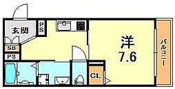 阪神本線 杭瀬駅 徒歩10分の賃貸マンション 3階1Kの間取り