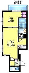 JR総武線 亀戸駅 徒歩4分の賃貸マンション 2階1LDKの間取り