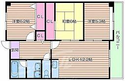 阪急京都本線 相川駅 徒歩6分の賃貸マンション 1階3LDKの間取り
