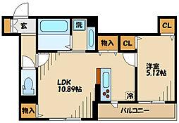 仮)D-room長峰A棟 3階1LDKの間取り