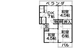 御殿山コーポA棟[2階]の間取り