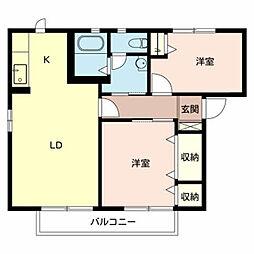 南海高野線 初芝駅 徒歩9分の賃貸アパート 2階2LDKの間取り