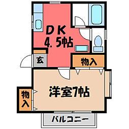 栃木県宇都宮市上戸祭町の賃貸アパートの間取り