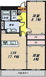 大阪府大阪市鶴見区横堤1丁目の賃貸マンションの間取り