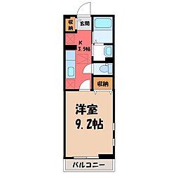 栃木県宇都宮市今宮2の賃貸アパートの間取り