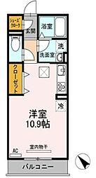 名鉄豊田線 黒笹駅 徒歩7分の賃貸アパート 1階ワンルームの間取り