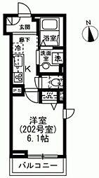 京王線 下高井戸駅 徒歩4分の賃貸マンション 2階1Kの間取り