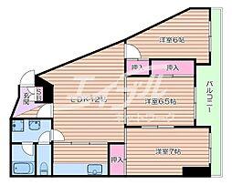 阪急千里線 南千里駅 バス10分 五月ヶ丘下車 徒歩2分の賃貸マンション 4階3LDKの間取り