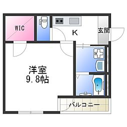 Osaka Metro四つ橋線 北加賀屋駅 徒歩10分の賃貸アパート 2階1Kの間取り
