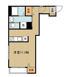 西武新宿線 東村山駅 徒歩8分の賃貸マンション 2階ワンルームの間取り