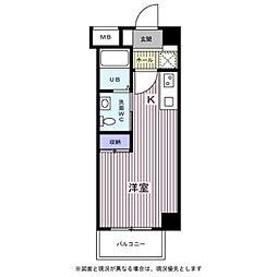 びゅうコート中浦和 1階ワンルームの間取り