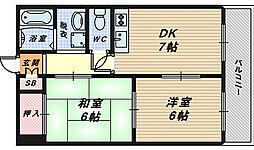 大阪府堺市西区浜寺船尾町東3丁の賃貸マンションの間取り