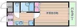 阪急千里線 千里山駅 徒歩18分の賃貸マンション 1階1Kの間取り
