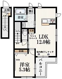 JR南武線 谷保駅 徒歩13分の賃貸マンション 2階1LDKの間取り