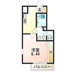 Fstyle田井城 1号館 1階1Kの間取り