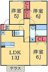 千葉県千葉市中央区南生実町の賃貸アパートの間取り