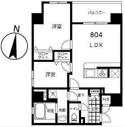 東京メトロ半蔵門線 錦糸町駅 徒歩9分の賃貸マンション 8階2LDKの間取り
