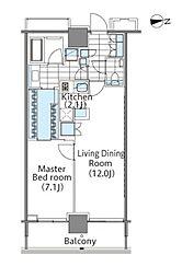 コンフォリア新宿イーストサイドタワー 16階1LDKの間取り