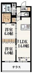 (仮称)東恋ヶ窪2丁目メゾン 1階2LDKの間取り